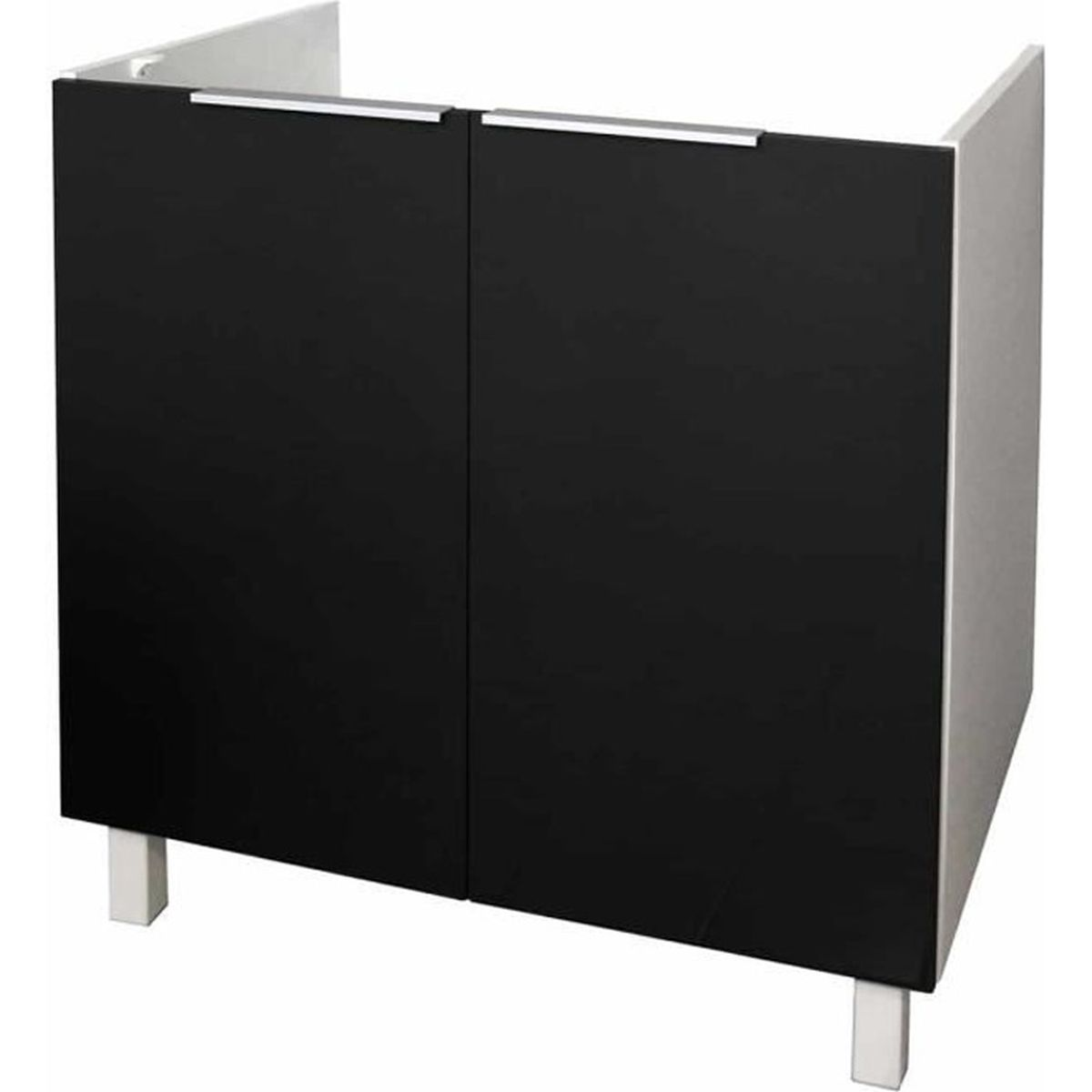 Meuble de cuisine bas sous évier - 14cm - Noir - Élément séparé