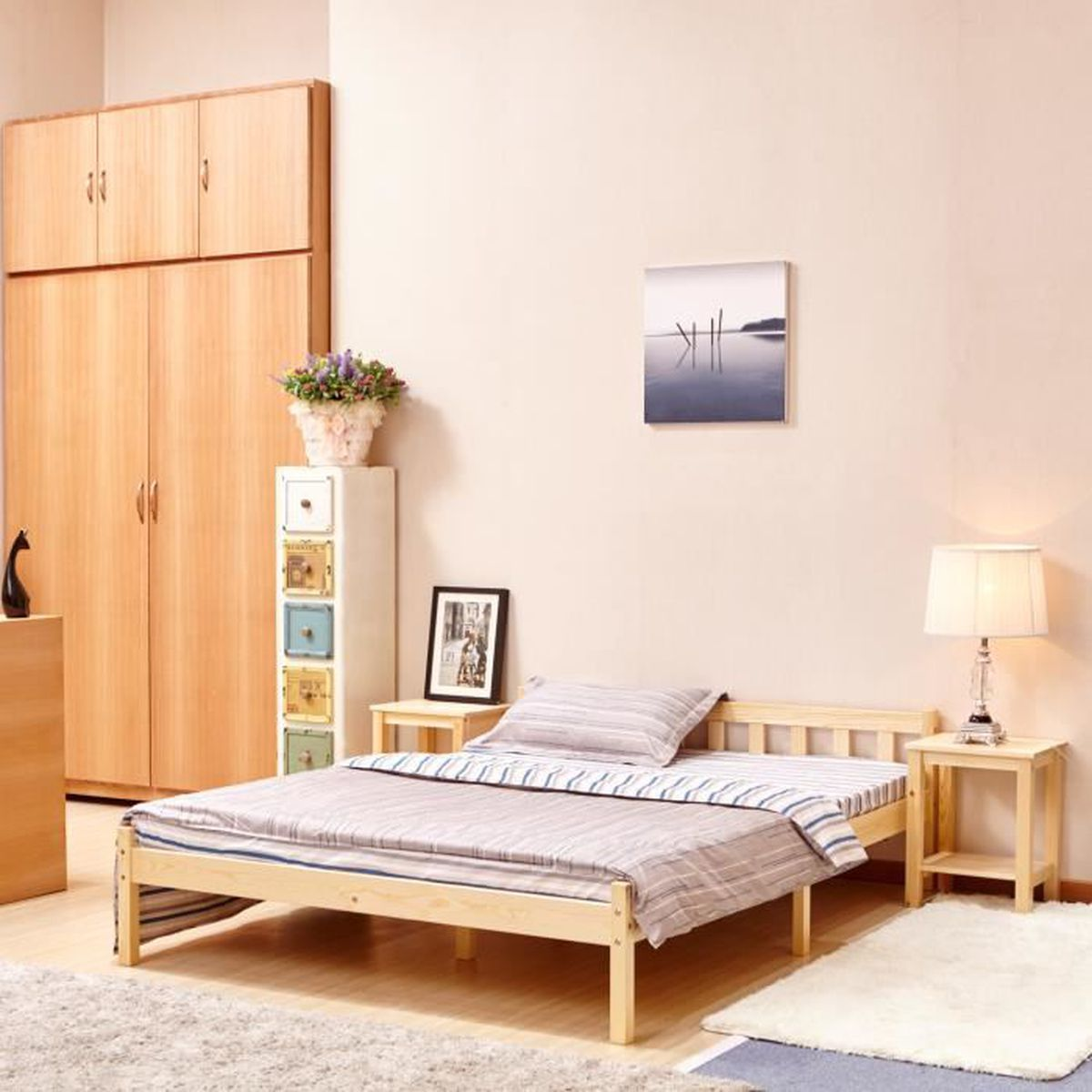 cadre de lit double en bois 190 x 140 cm achat vente. Black Bedroom Furniture Sets. Home Design Ideas