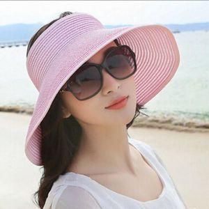 Qinghengyong Belle Femme de Paille Panama Cap Fille Dame Chapeau Robe Fleur Chapeau de Soleil Lady Voyage d/ét/é Plage Camping Fisher Hat Brim Large Pink