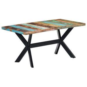 TABLE À MANGER COMPLÈTE Table de salle à manger 160x80x75cm Bois de récupé