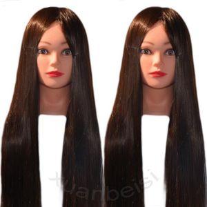 TÊTE À COIFFER Haute Température Fiber De Cheveux Longs Mannequin