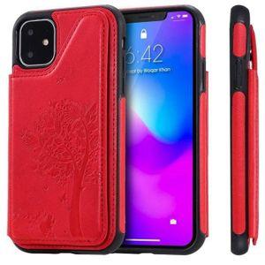 COQUE - BUMPER Coque iPhone 11,Rouge Papillon Cuir Premium Porte-