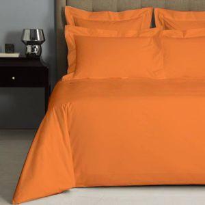 178 x 255 cm Homescapes Drap Plat en Lin lav/é Orange