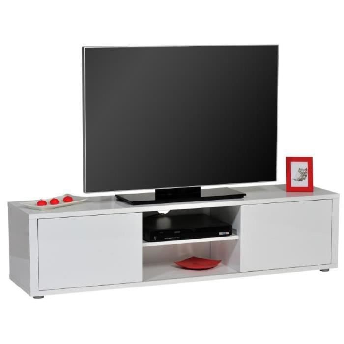 urbana banc tv contemporain laqu blanc brillant l 160 cm achat vente meuble tv urbana. Black Bedroom Furniture Sets. Home Design Ideas