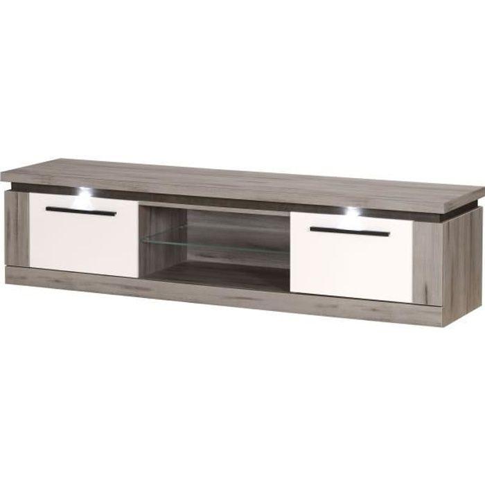 OSLO Meuble TV 2 portes - Laqué blanc et décor bois- L 181 x P 47 x H 45 cm