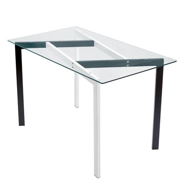 AKALNNY Table à manger rectangulaire,Pied en fer à transfert de chaleur à grain de bois , Plateau en verre trempé transparent