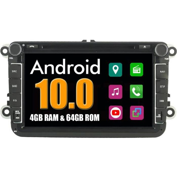 RoverOne Autoradio Bluetooth GPS Navigation pour Volkswagen Polo Passat B6 Passat CC Scirocco Sharan Sagita Tiguan Touran