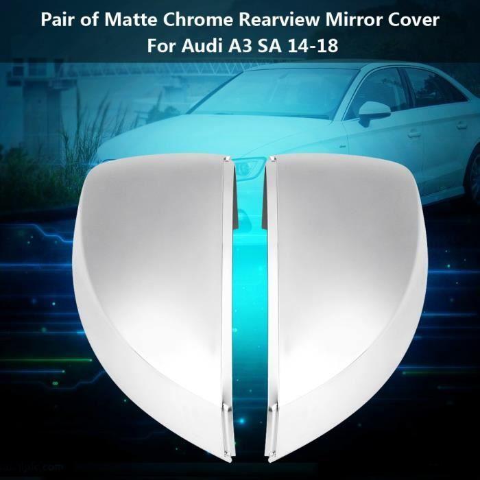 Coque de rétroviseur, Paire de capuchons de protection de coquille de rétroviseur en chrome mat pour Audi A3 S3 8V 13-18-CWU