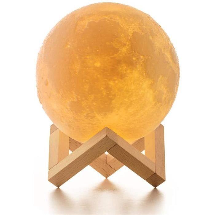 Lampe Lune, ICONNTECHS IT Lampe Lune Imprimée en 3D 20CM Variateur de Lumière lunaire16 couleurs RVB avec Télécommande & contrôle ta