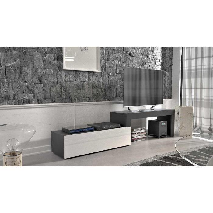 Meuble tv extensible noir mat façade blanc laquée 108-200 + Led bleu