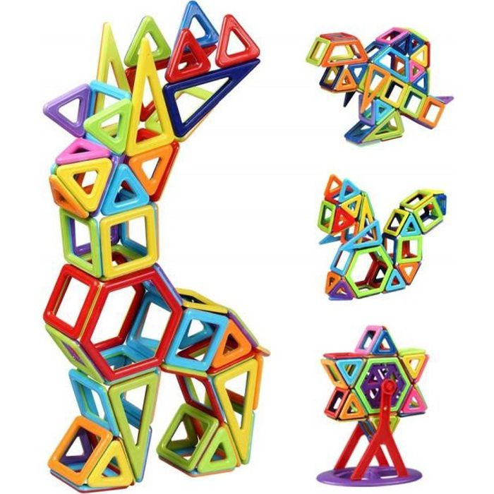 Bloc de Construction Magnétique Enfant 108 Pièces, Mini Jeux Construction Aimanté Jouet Educatif et Créatif, Cadeau Anniversaire Fêt