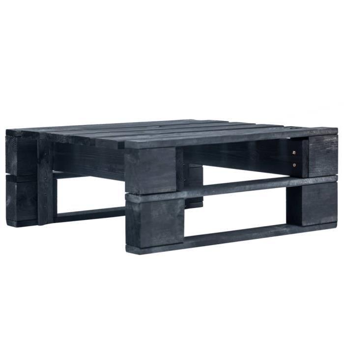 JOLI - Table Basse Terrasse Salon -Pouf d'extérieur Magnifique- Repose-pied palette de jardin - Bois Noir√5909