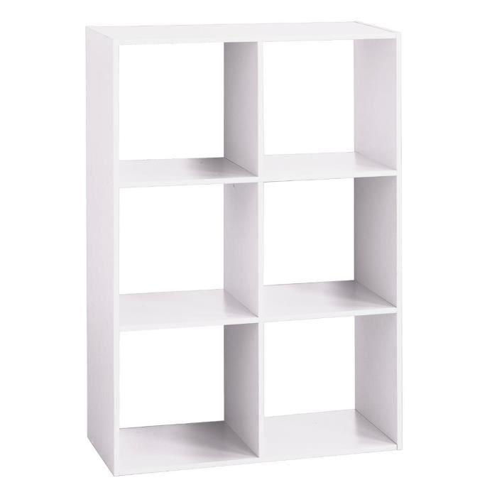 Étagère bois 6 cases blanc Autres Blanc