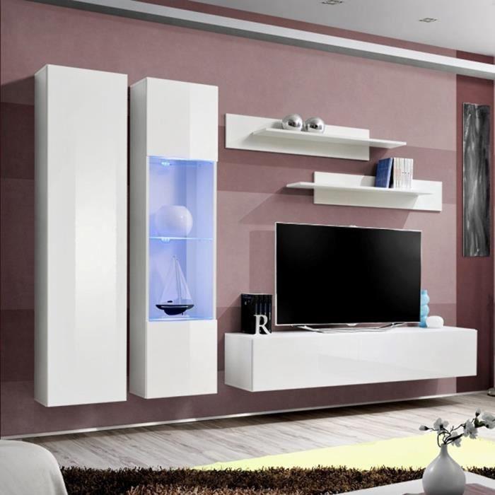 Ensemble meuble télé blanc TEODORO Blanc L 260 x P 40 x H 190 cm