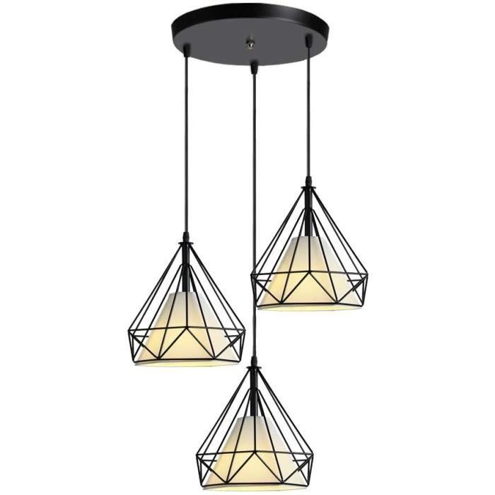 iDEGU 3 Lampes Suspension Luminaire Vintage Industrielle Lustre Plafonnier Forme de Diamant M&eacutetal R&eacutetro E27 Lampes846