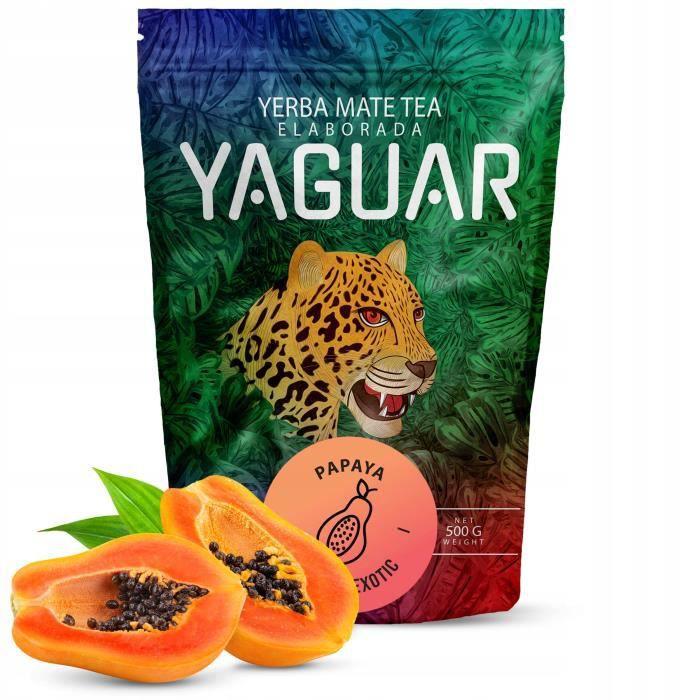 Yaguar Papaya - Yerba Maté du Brésil - 500g - Riche mélange de maté, papaye, mangue, calendula et citronnelle