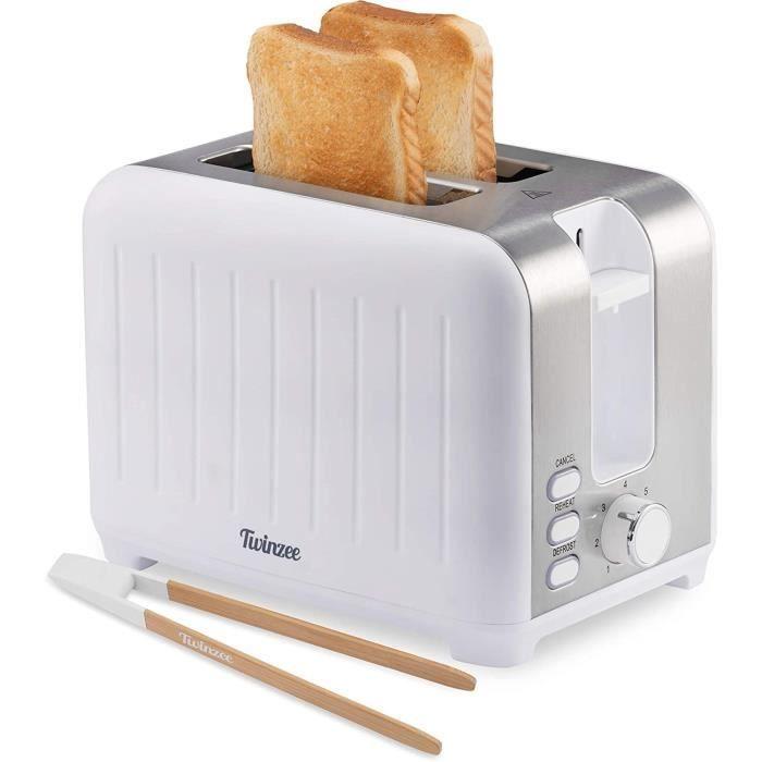 Twinzee - Grille Pain 3 en 1 - Blanc Mat en Inox - 2 Large Fente Toaster Vintage - Pince en Bambou Gratuite - 7 Niveaux de Brunissag
