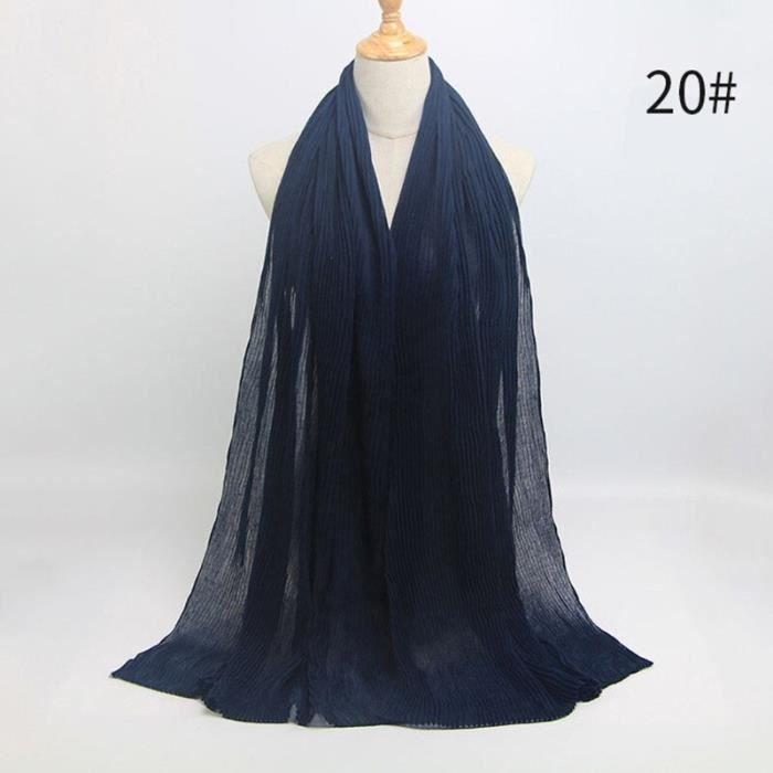 Foulard hijab en coton froissé, écharpe douce, écharpe chaude, écharpe chaude, châle, 25 couleurs, Design hiver, tendanc DY5182