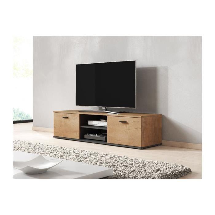 Meuble tv design SANO 140 CM - bois et gris