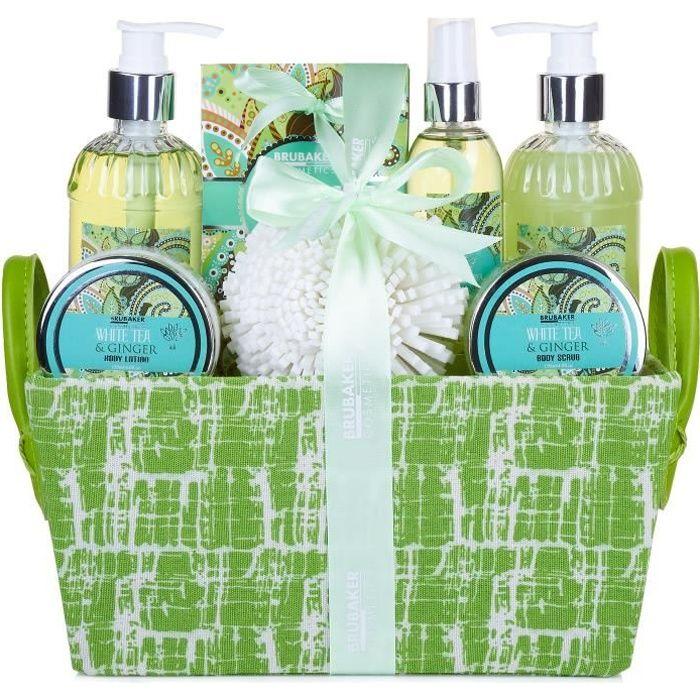 BRUBAKER Cosmetics - Coffret de bain & douche - Thé blanc/Gingembre - 8 Pièces - Panier décoratif - Idée cadeau