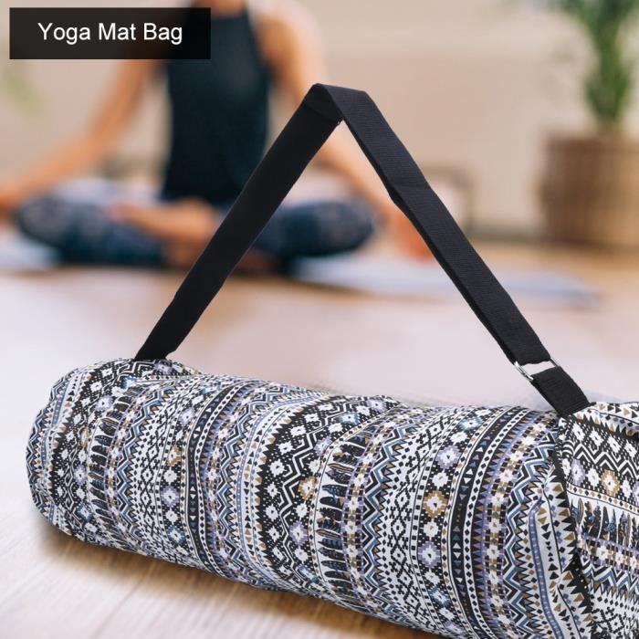 Sac pour tapis de yoga Bandoulière réglable multifonctionnelle pour exercice Sac pour tapis de yoga noir blanc-FUT
