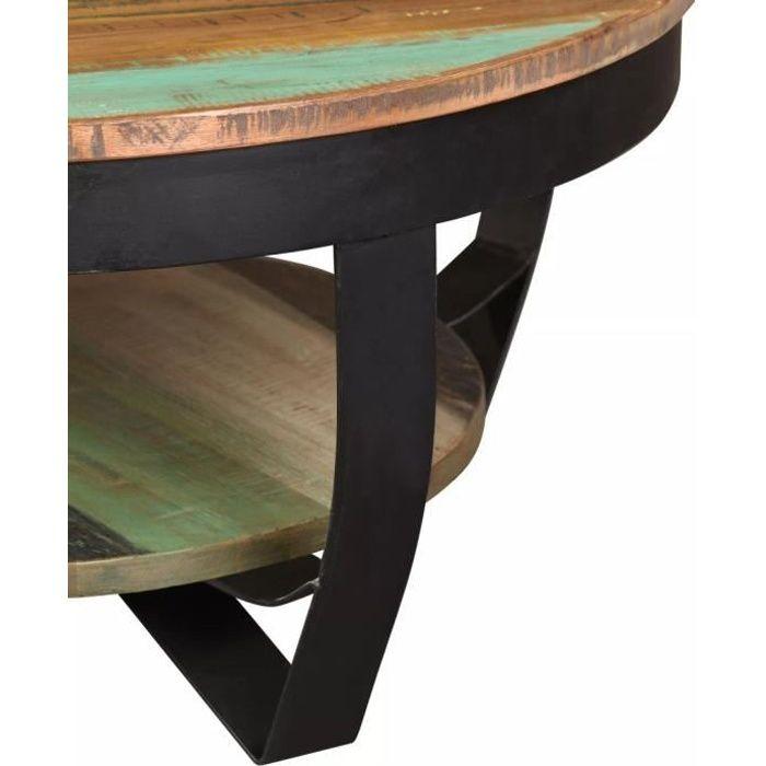 Regisi Table Basse Rond - Table de Salon - Table Basse Relevable - Table Basse Industrielle en Bois Massif de Récupération 65 x-3