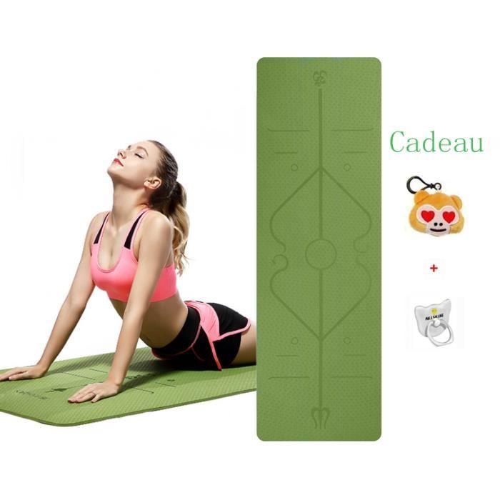 Tapis de Yoga Antidérapant, Epais, Tapis avec des repères d'alignement du Corps Parfait pour Sport au Sol
