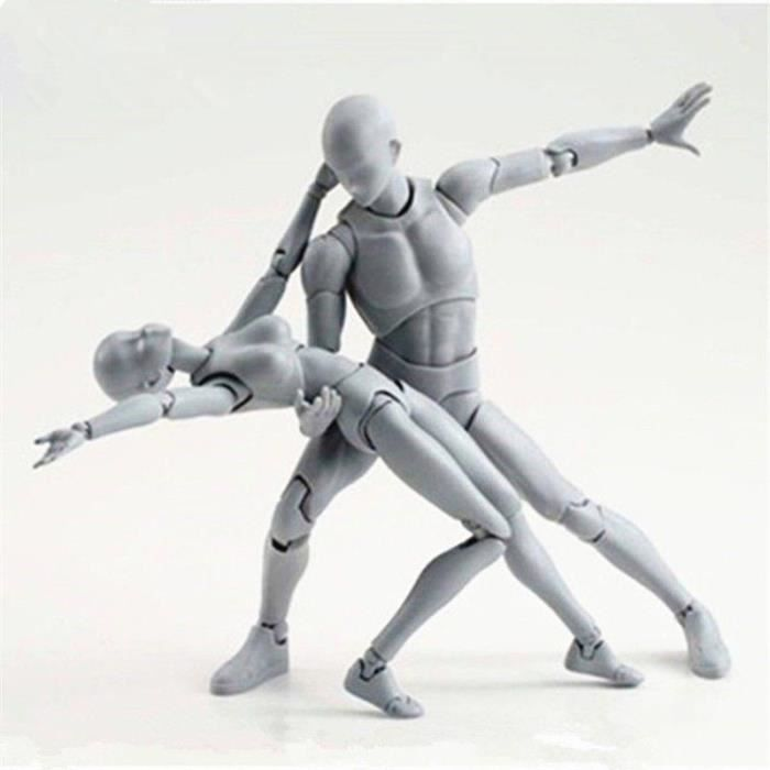 Body-Kun DX & Corps-Chan DX Action PVC Figure (Ver Couleur Gris.) Avec Box Set 2PCS