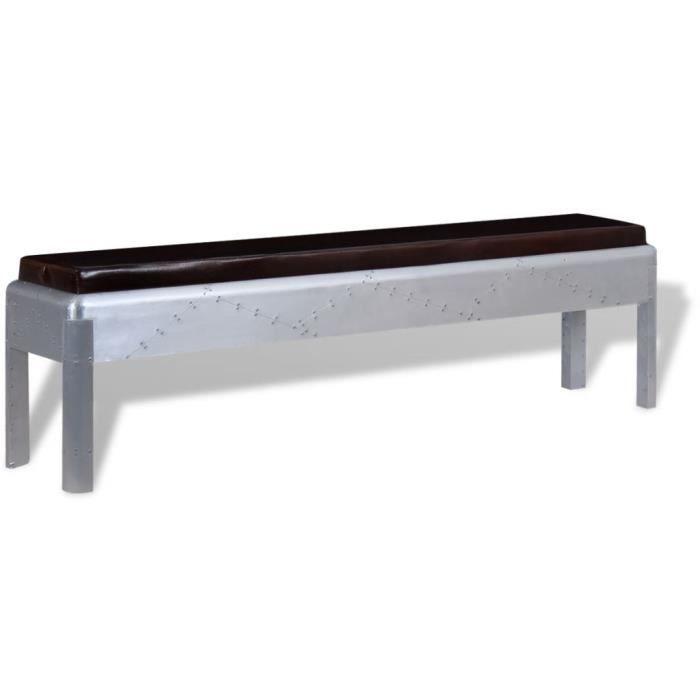 Haute qualité Banc d'entrée Cuir véritable 160 x 32 x 45 cm