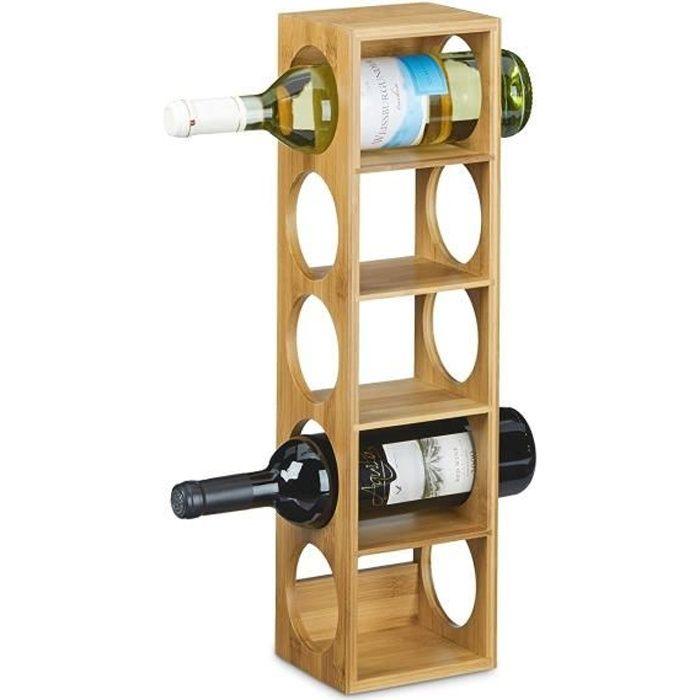 Relaxdays Étagère à vin en bambou HxlxP: 53 x 14 x 12 cm 5 emplacements range-bouteilles 5 étages casier à vin en bois