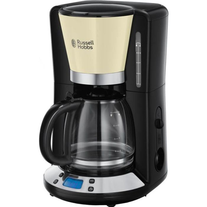 RUSSELL HOBBS 24033-56 Cafetière Filtre Programmable Colours Plus 24h, Digital, Maintien au Chaud - Crème