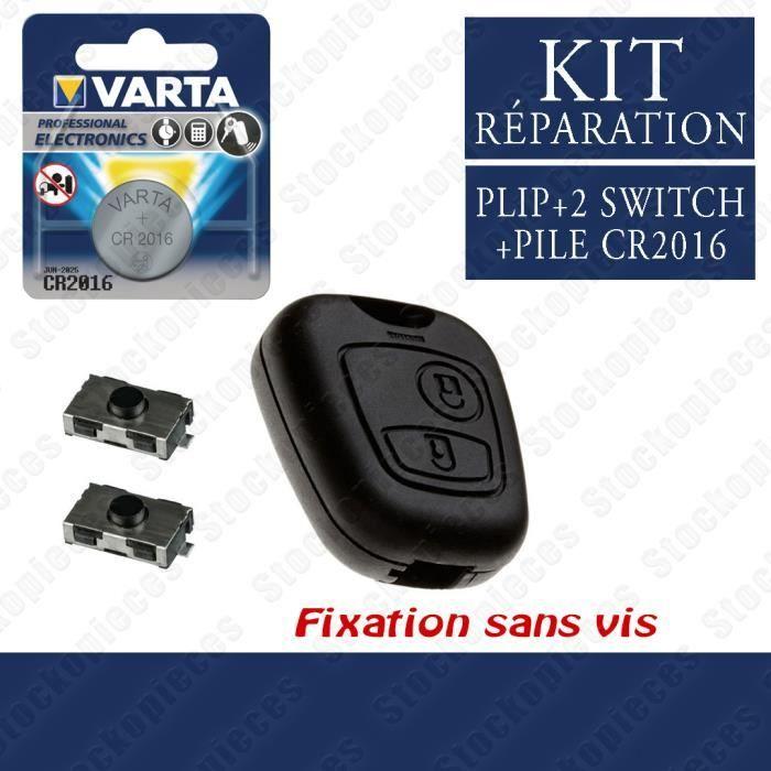 KIT RÉPARATION COQUE CLE CLEF COMPATIBLE CITROËN XSARA SAXO PICASSO BERLINGO / 2 Switch + Pile VARTA/ MODELE SANS VIS
