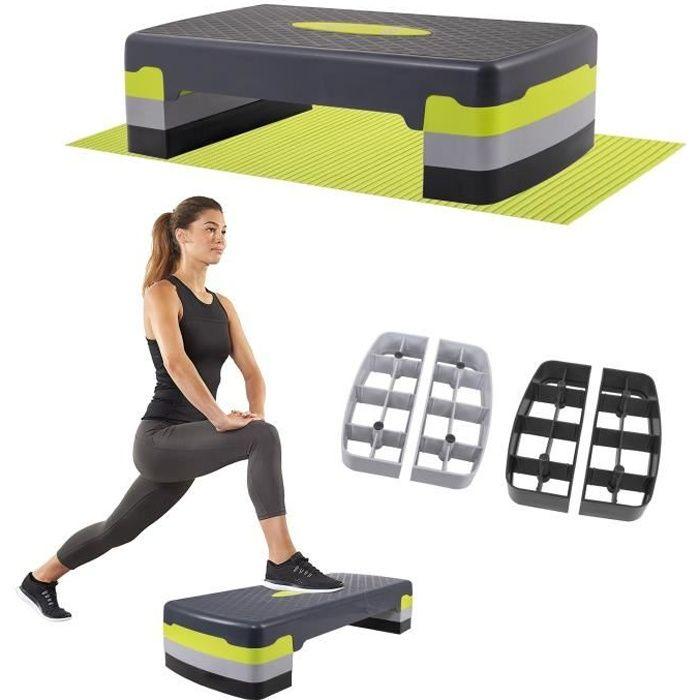 SPRINGOS® Aérobic Stepper, Réglable Stepper d'exercice, 3 niveaux de hauteur, antidérapant - graphite vert