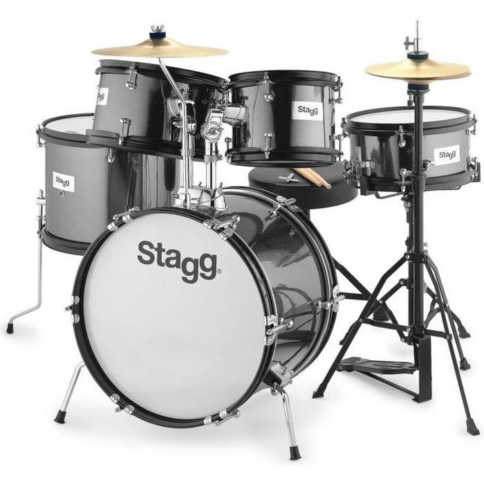 STAGG Batterie Junior - 5 pièces - 16' - Noir - Avec accessoires