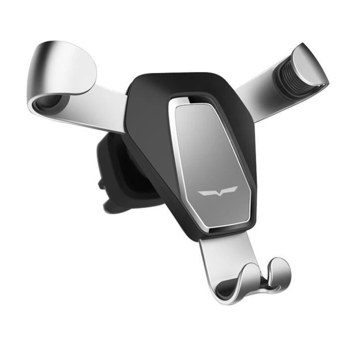 Support Téléphone Voiture Grille d'aération Universel Pour iPhone/Samsung/Huawei/Wiko, Fixation Téléphone Support - argent