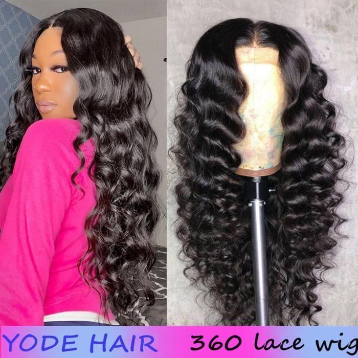 24-Perruque 360 Lace Closure Wig Naturelle Malaisienne Cheveux Humains Loose Wave Couleur Naturelle