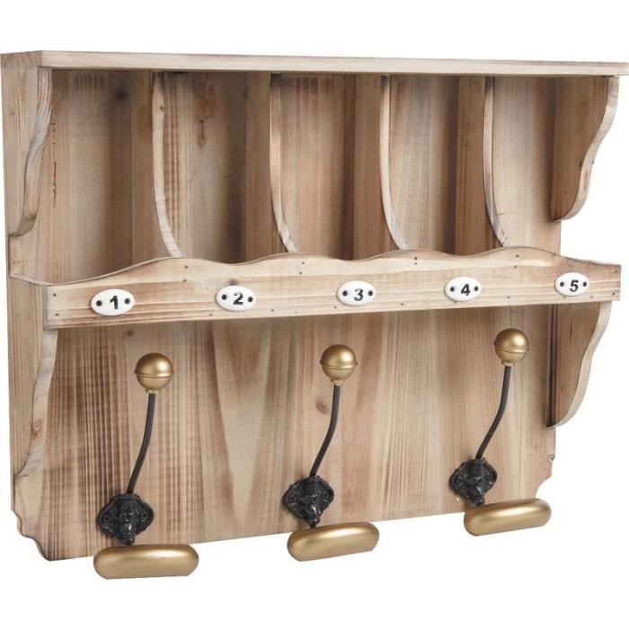 pat re 3 crochets avec tag re en bois achat vente pat re cdiscount. Black Bedroom Furniture Sets. Home Design Ideas