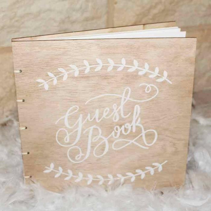 1 Pcs Livre D Or Couverture Bois Inscription Guest Book 22xm
