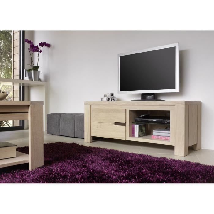 meuble t l hifi clea chene massif achat vente meuble. Black Bedroom Furniture Sets. Home Design Ideas
