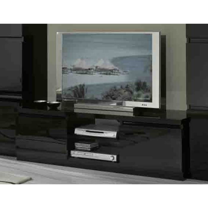 meuble tv laque noir achat vente meuble tv meuble tv laque noir cdiscount. Black Bedroom Furniture Sets. Home Design Ideas