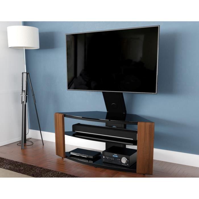 Meuble Avec Support Tv Integre Avf Como L 108 1 Cm Noyer Pour Ecrans De 32 Jusqu A 65