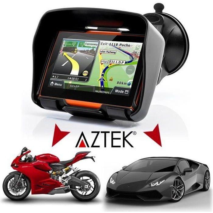 "GPS AUTO AZTEK  AZTEK® 4.3"" GPS 4en1 MOTO - CAMPING-CAR - C"