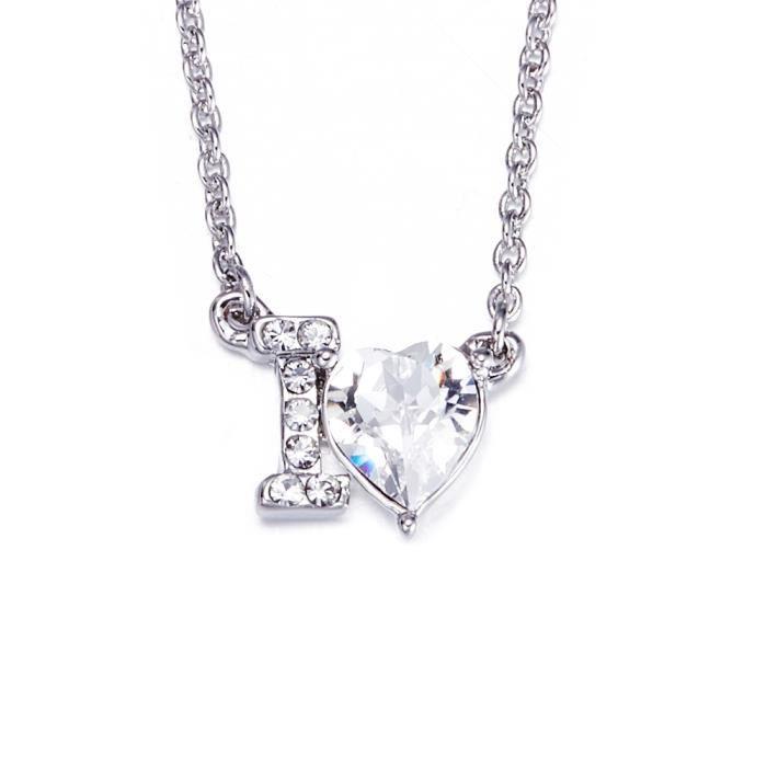 SAUTOIR ET COLLIER Collier Coeur I love You Cristal de Swarovski Elem