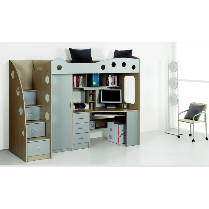 lit multifonction avec placard et bureau domi achat. Black Bedroom Furniture Sets. Home Design Ideas