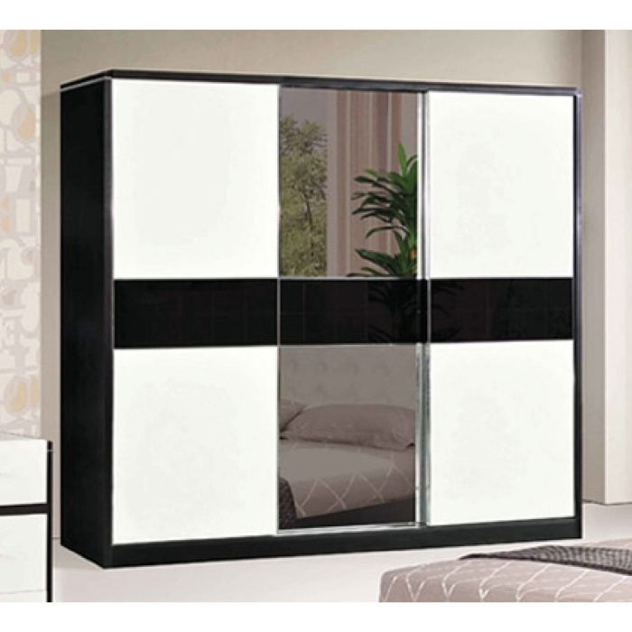 armoire doni 3 portes avec miroir noir et blanc achat. Black Bedroom Furniture Sets. Home Design Ideas