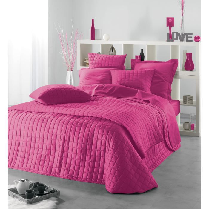 couvre lit venus fuchsia 220x240 2 housses coussin achat vente jet e de lit boutis. Black Bedroom Furniture Sets. Home Design Ideas
