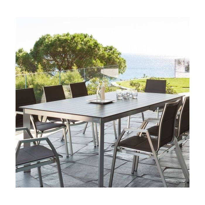 Table exterieur ambrosio 8 pers gris hesperide achat for Table exterieur 3 metres