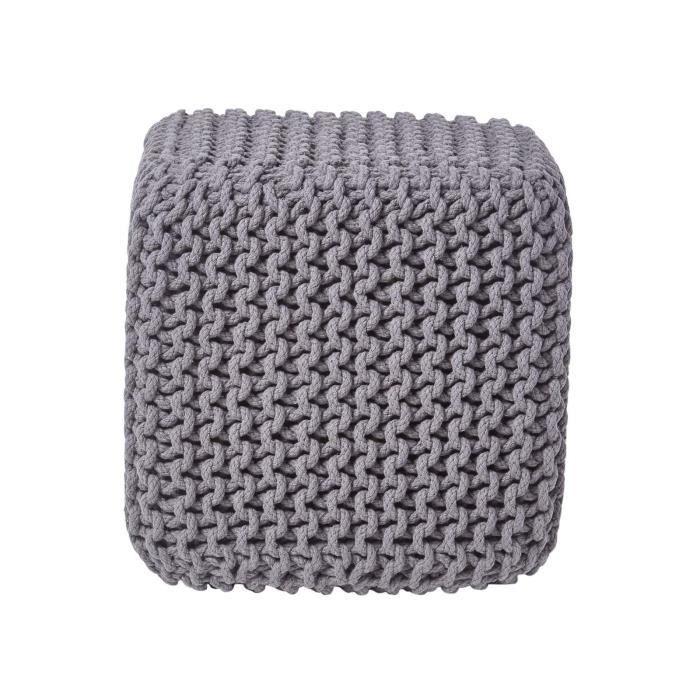 pouf repose pieds en tricot cube gris fonc achat vente pouf poire cdiscount. Black Bedroom Furniture Sets. Home Design Ideas