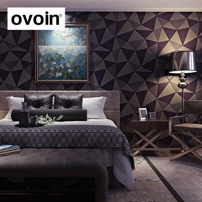 papier peint effet g om trique forme triangle 3d en cuir. Black Bedroom Furniture Sets. Home Design Ideas