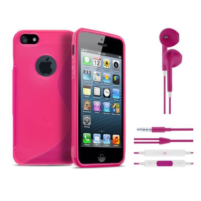 coque bumper iphone 5 5s les ecouteur rose achat. Black Bedroom Furniture Sets. Home Design Ideas